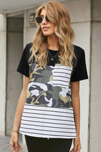 Load image into Gallery viewer, Pre-Order Camo and Stripe Color Block Top