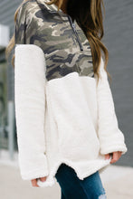 Load image into Gallery viewer, White Fleece & Camo 3/4 Zip Hoodie