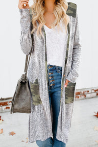Black & White Stripe Cardigan w/Camo Accents