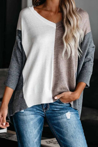 Pre-Order Khaki Color block Loose Fit Knit Sweater