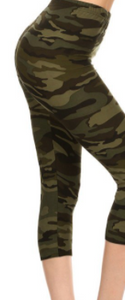 XXL #9 Green Camo Capri Leggings