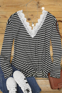 Pre-Order Stripe Double V Lace Accent Top