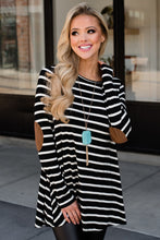 Load image into Gallery viewer, Black or White Stripe Tunic w/Button Back
