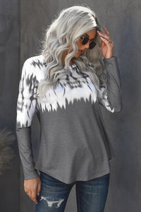 Tie-dye Knit Long Sleeve Top