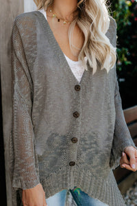 Pre-Order Gray Loose Lightweight V Neck Buttoned Sheer Knit Cardigan