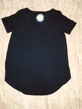 Load image into Gallery viewer, Black Short Sleeve V-Neck Straight-Cut Tunic
