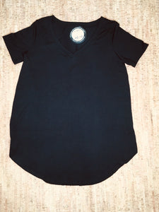 Black Short Sleeve V-Neck Straight-Cut Tunic