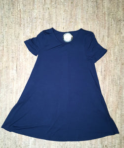 Navy Round Neck Short -Sleeve Tunic