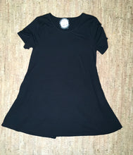 Load image into Gallery viewer, Black Round Neck Short-Sleeve Tunic
