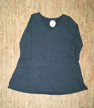 Load image into Gallery viewer, Charcoal 3/4 Sleeve V-Neck Tunic