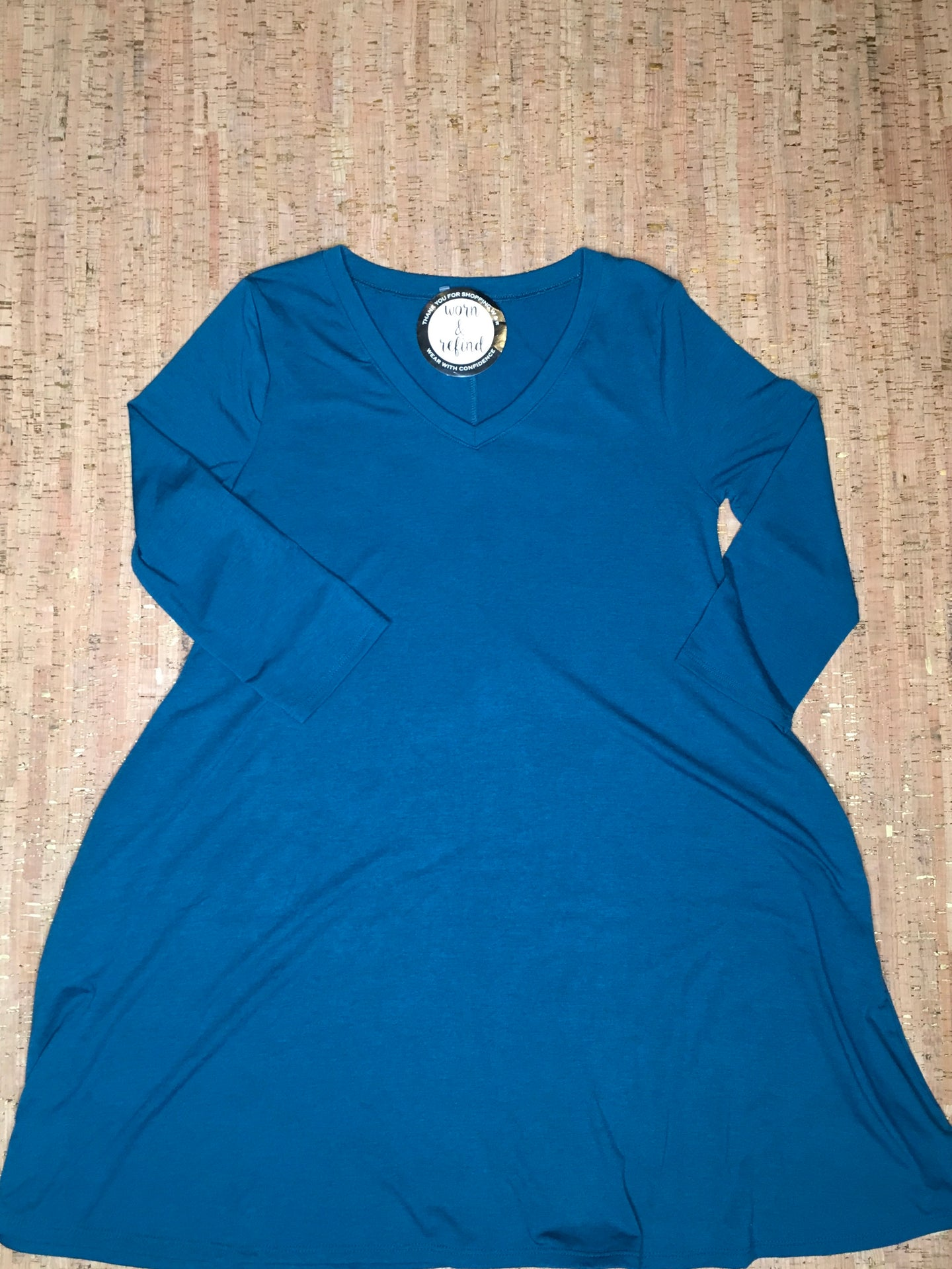 Teal 3/4 Sleeve V-Neck Tunic