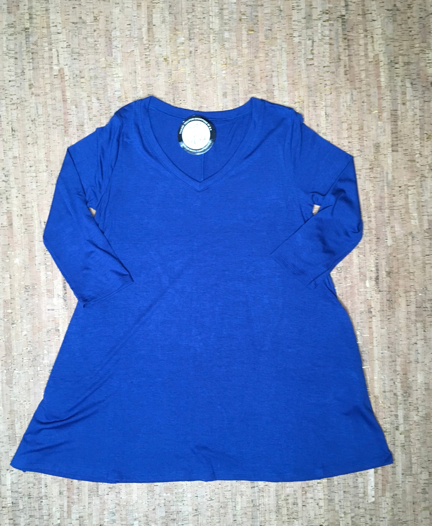Royal Blue 3/4 Sleeve V-Neck Tunic