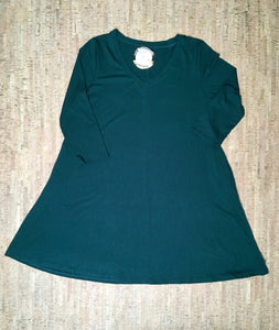 Hunter Green 3/4 Sleeve V-Neck Tunic