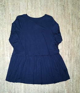 Navy 3/4 Sleeve Ruffle Tunic