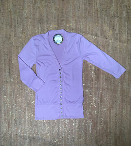 Lilac 3/4 Sleeve Snap Cardigan