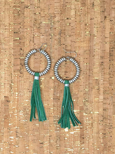 Green Leather Tassel Earrings