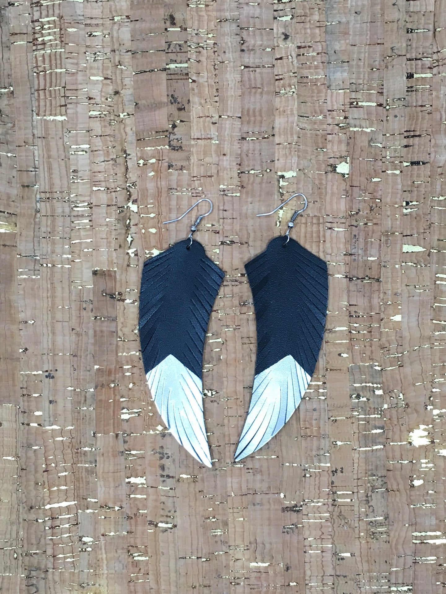 Black & Silver Leather Earrings