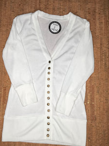 White 3/4 Sleeve Snap Cardigan