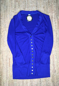 Denim Blue 3/4 Sleeve Snap Cardigan