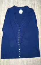 Load image into Gallery viewer, Navy 3/4 Sleeve Snap Cardigan