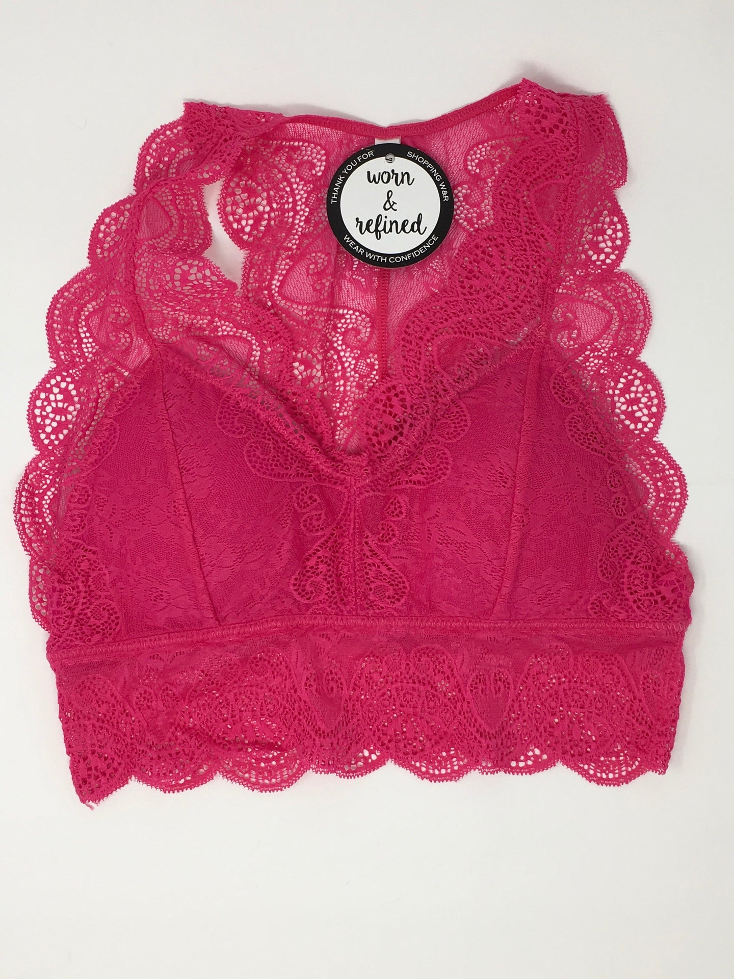 Hot Pink Lace Hourglass Back Bralette
