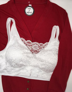 White Lace Front Padded Tank Bralette