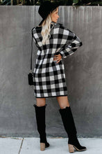 Load image into Gallery viewer, Pre-Order Black Gingham Balloon Sleeve Sweater Dress