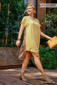 Golden Yellow Dress with Leopard Back