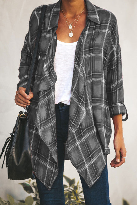 Gray Plaid Drape Cardigan