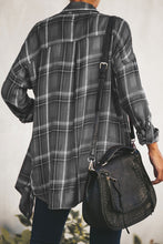 Load image into Gallery viewer, Gray Plaid Drape Cardigan