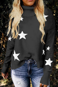Pre-Order Turtleneck Star Print Sweater