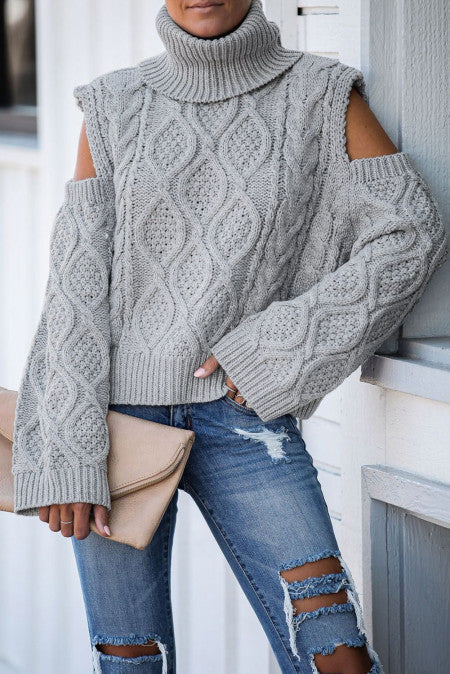 Pre-Order Turtleneck Cold Shoulder Textured Sweater