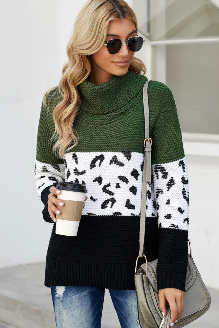 Pre-Order Turtleneck Splicing Chunky Knit Pullover Sweater
