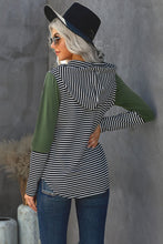 Load image into Gallery viewer, Green Color Block w/Stripe Hoodie