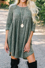 Load image into Gallery viewer, Pre-Order Green 3/4 Sleeve Irregular Hem Mini Dress