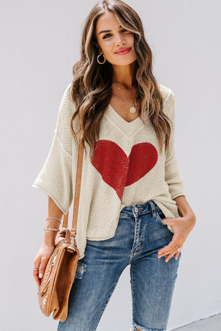 Beige V-neck Dropped Sleeve Heart Print Slouchy Top Valentine