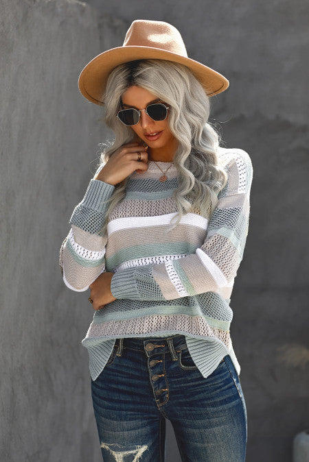 Striped Crew Collar Hollow-out Knit Sweater