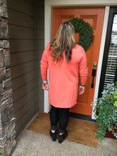 Load image into Gallery viewer, Coral V-Neck High Low Sweater with Side Slits