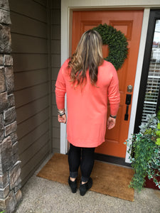 Coral V-Neck High Low Sweater with Side Slits
