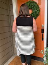 Load image into Gallery viewer, White with Black Stripe Tunic Tank with pockets and Black Color Blocking Top
