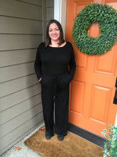 Load image into Gallery viewer, Black Long Sleeve Jumpsuit with Keyhole Back