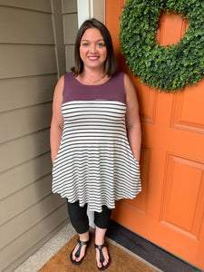 White with Black Stripe Tunic Tank with pockets and Eggplant Color Blocked Top