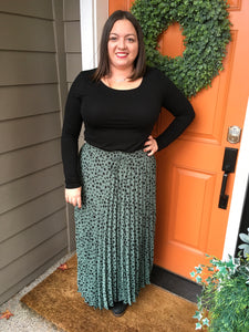 Dark Sage Pleated Dot Skirt