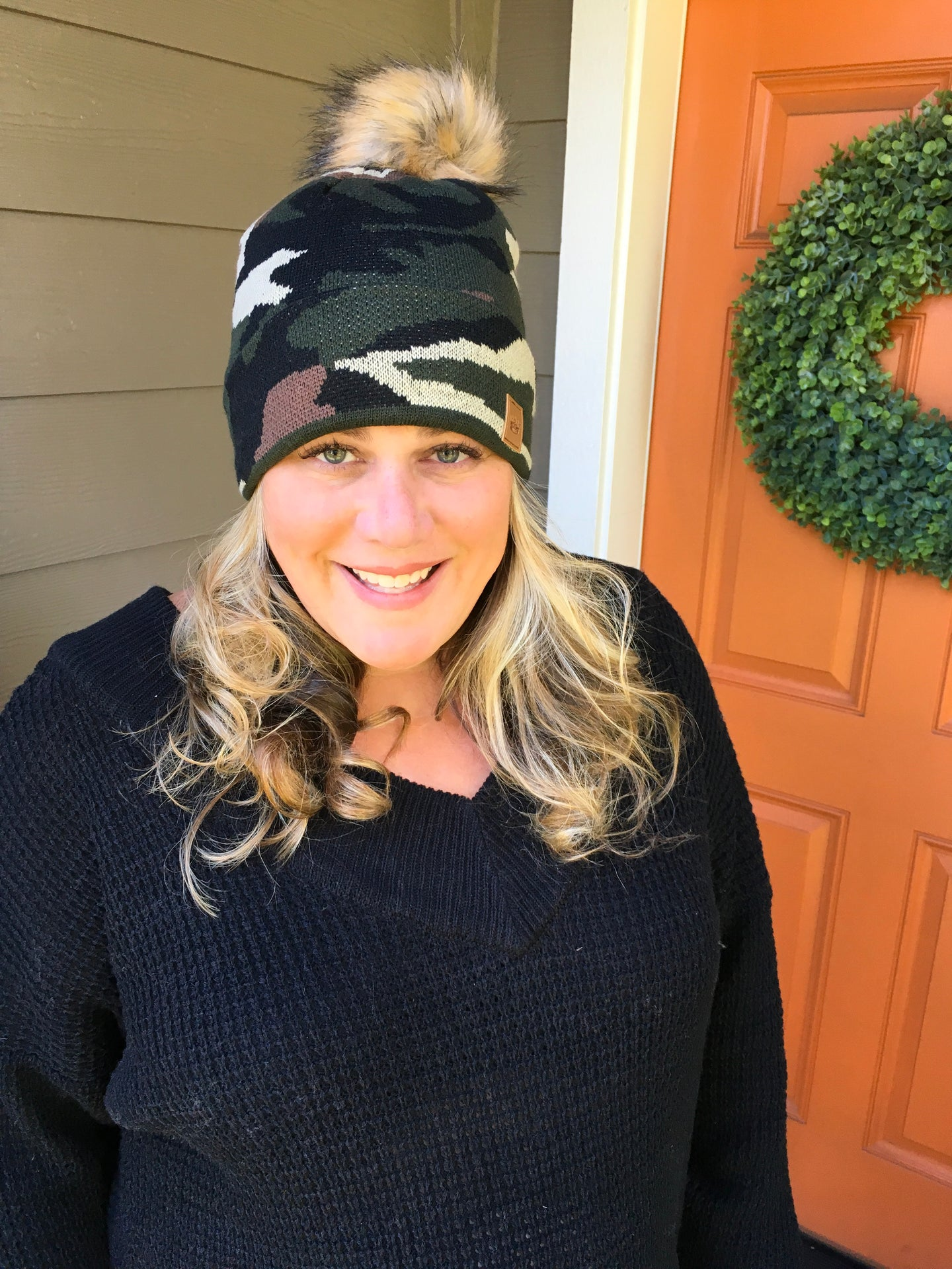 Camo Stocking Hat with Pom Pom Top