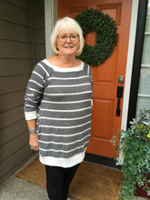 Load image into Gallery viewer, Light Charcoal and White Stripe Tunic
