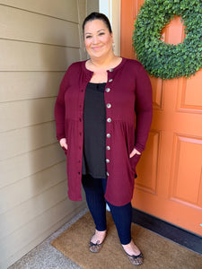 Burgundy Front Button Cardigan