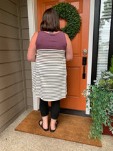Load image into Gallery viewer, White with Black Stripe Tunic Tank with pockets and Eggplant Color Blocked Top