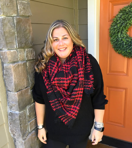 Red Small Print Buffalo Plaid Blanket Scarf