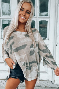 Pre-Order Oversize Camo Print Long Sleeve Top