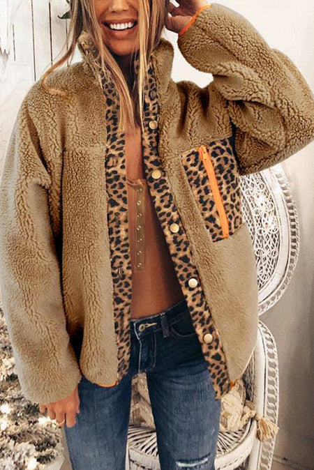 Snap Fleece Coat with Leopard Accents